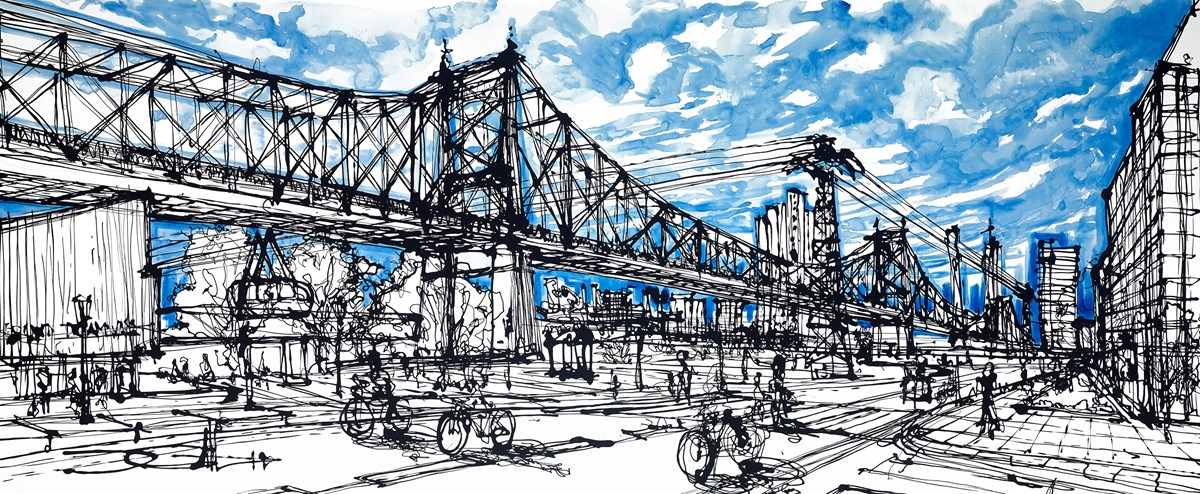 Roosevelt Island Queensboro Bridge by ingo -  sized 59x24 inches. Available from Whitewall Galleries